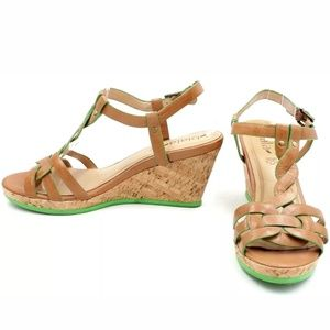ANTHRO BIALA BROWN LEATHER BRAIDED CORK WEDGES